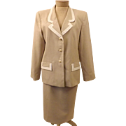 Vintage Designer Oleg Cassini Beige Dress Suit Size 12