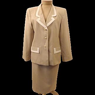 Vintage Designer Oleg Cassini Beige Dress Suit Size 12