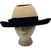 60s Doeskin Felt Wide Brim Hat Size 7 1/8 by Junior Seasons