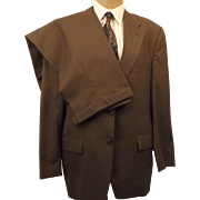 Ralph Lauren CHAPS Men's Brown Tattersall Wool Suit Size 42R