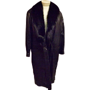 80's Black Leather Coat with Faux Mink Fur Trim by Dubrowsky Perlbinder Size XL