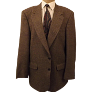 80's Designer Halston Sport Coat Men's Brown Houndstooth Size 44 L