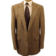 80's Designer Halston Men's Sport Coat Gold Tattersall Size 38L