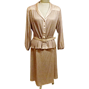 60's Leslie Pomer 2 pc Dress Suit Gold Peplum Top Plus Size 20