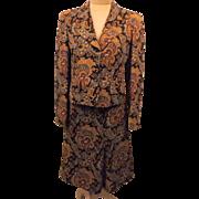 70's Vintage Benard Holtzman Gold Paisley Dress Suit Size 6