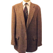 Vintage Brown Harris Tweed Houndstooth Sport Coat Size 42 R
