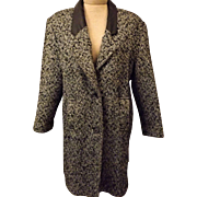 Vintage 70's Gray Herringbone New York Girl Wool Coat Size 14
