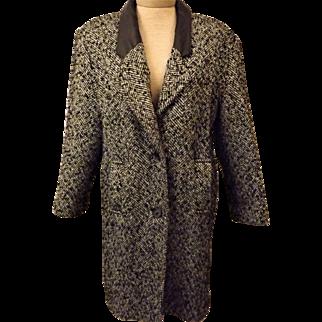 Vintage 70's Gray Herringbone New York Girl Wool Coat Size 14