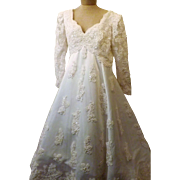 Vintage 80's Sequin Lace Beaded Wedding Gown Size 12 / 14