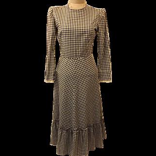 40s Jonathan Logan Gingham Lawn or Evening Dress Size 10