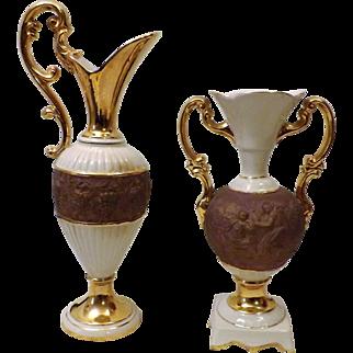 60s Pair of Casa Vinicola Boccaiccio Wine Bottles Claret Pitchers