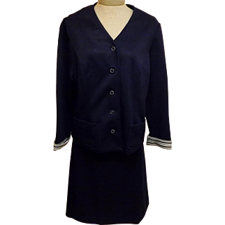 Vintage 70's Leslie Pomer Navy Blue Dress Suit  Plus Size 18