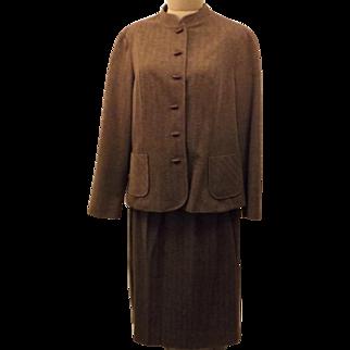 70s Marty Gutmacher Brown Herringbone Tweed 3 pc Dress Suit Size 20