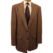70's Rare Manx English Tweed Men's Brown Sport Coat Size 42R