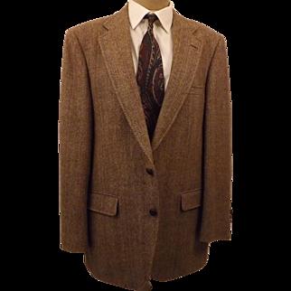 70's Rare Manx English Tweed Men's Brown Sport Coat Size 42R
