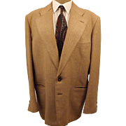 Vintage 70s Wayrich Tan Pin Stripe Wool Men's Sport Coat 42R