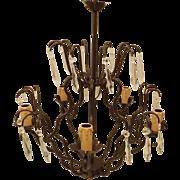 Vintage Candlestick Crystal Prism Hanging Light Hallway Lamp