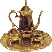 International Silver Plate Coffee Pot Sugar Creamer Butler Tray
