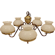 Vintage Brass & Hobnail Milk Glass Hanging Ceiling Light or Lamp