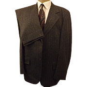 60s Clipper Craft Men's Gray Herringbone Wool Suit  Size 42R