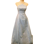 Blue Halter Evening Gown w Sequins Size 3 / 4 By Morgan & Co