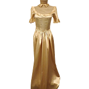 Vintage 30s Liquid Satin Gold Wedding Evening Dress Size 4