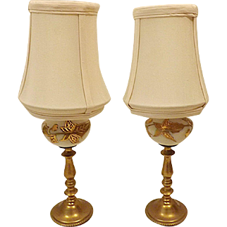 Vintage Mid Century Pair Brass and Marble Boudoir Lamps w Orig Shades