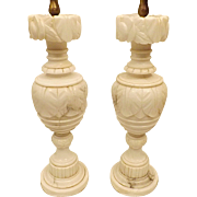 40s Pair Hand Carved Italian Alabaster Marble Lamps with Orig Harps