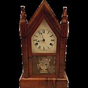 Antique 1870's Wm Gilbert Mahogany Steeple Clock Small Gothic Model