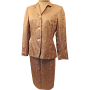 Champagne Gold Silk Brocade Evening Dress Suit Size 4