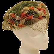 50s Green Velvet Birdcage Veil Pillbox Hat Size 7