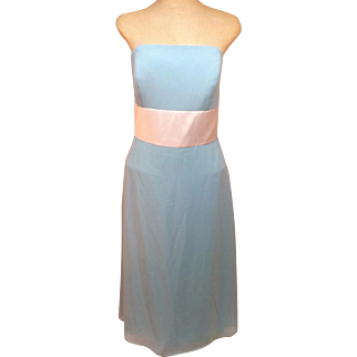 Strapless Blue Evening Gown or Bridesmaid Dress Size 10