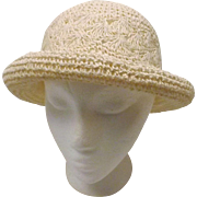 Vintage White Paper Straw Wide Brim Bucket Hat One Size