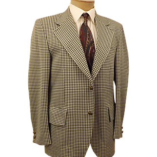 70's Green Gray Houndstooth Mens Sport Coat Blazer Size 40 R
