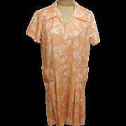 70s Vintage Peach Floral Summer Frock Dress Plus Size 18
