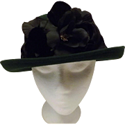 Hunter Green Bowler Derby Women's Hat with Black Flower Size 6 7/8