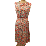 60's Vintage British Lady Sleeveless Flower Print Day Dress Size 16