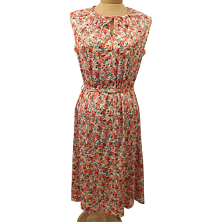 60's Vintage Sleeveless Flower Print Day Dress Size 16 British Lady