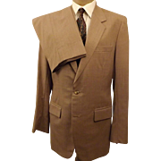 80's Custom Bespoke Tan Wool Men's Suit Size 40 L
