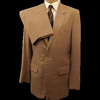 80's Custom Bespoke Tan Summer Wool Men's Suit Size 40 L