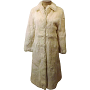 Vintage Full Length White Rabbit Fur Coat Size S