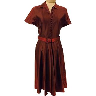 1940's Silk Maroon Evening Dress Size 6 by House of Kunel
