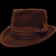40's Bonar Phelps Mocha Brown Men's Fedora Hat Fur Felt Size 7