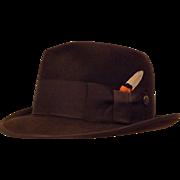 50's Stylefelt Men's Wool Felt Fedora Chocolate Brown Size 6 7/8  by Ben