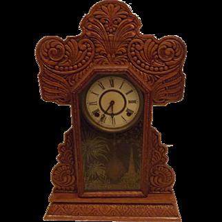 1880's Antique E. Ingraham Co Oak Gingerbread Kitchen Clock