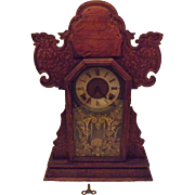 "c1915 Rare Antique Ingraham Freedom ""Jack & Jill "" Gingerbread Kitchen Clock"