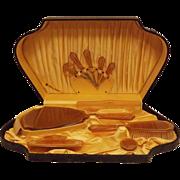 30s Art Deco Amber 22kt Celluloid Dresser Set 10 Pcs Original Case