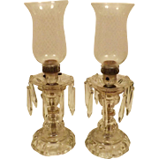 Pair Vintage Crystal Prism Candlestick Boudoir Table Lamps