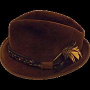 Men's Brown Fedora Hat Fur Velour by LaSalle Size 7  1 / 8