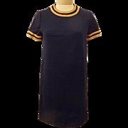 60s Vintage Jonathan Logan Blue Knit Shift Dress Size 6